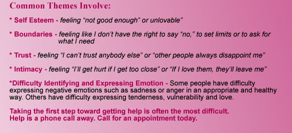 Common Themes: Self Esteem, Boundaries, Trust, Intimacy, Difficulty Identifying and Expressing Emotion